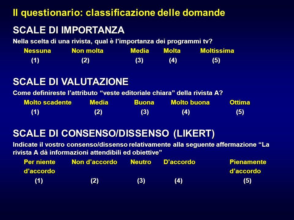 Il questionario: classificazione delle domande CHIUSA DICOTOMICA (A RISPOSTA CONDIZIONATA) Ecco una lista di riviste.