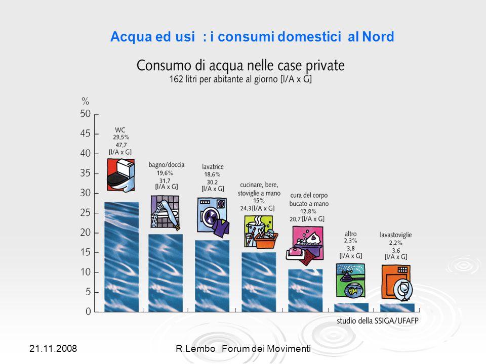 21.11.2008R.Lembo Forum dei Movimenti Acqua ed usi : i consumi domestici al Nord
