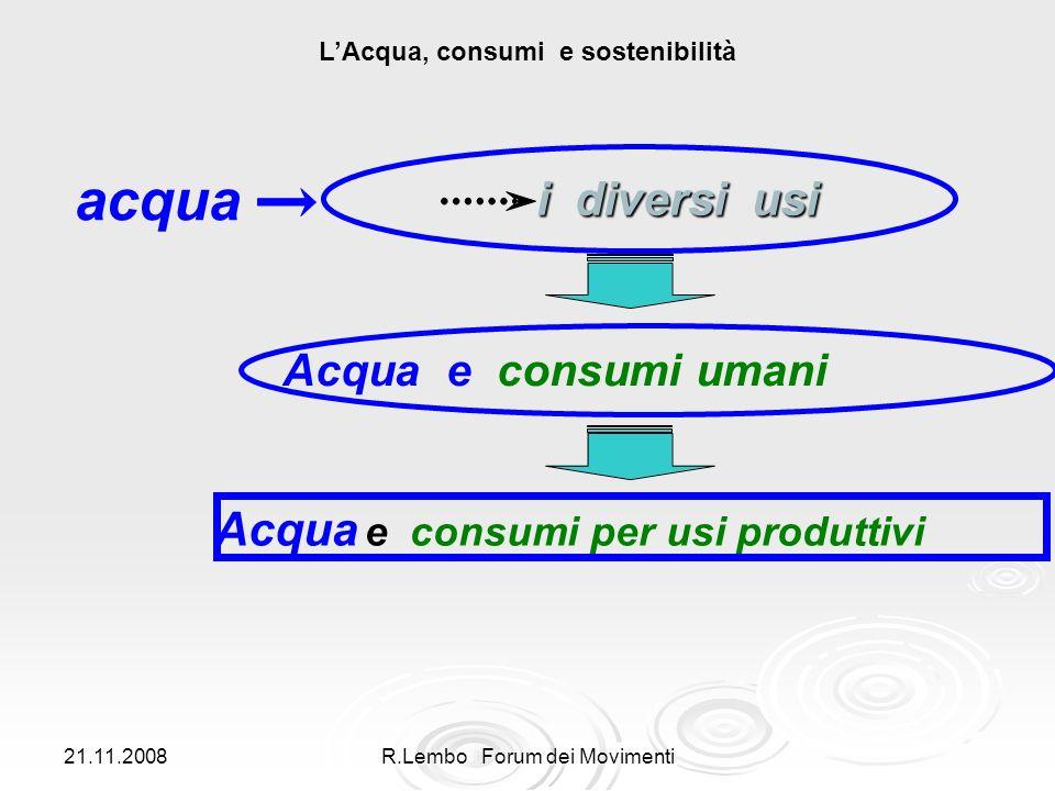 21.11.2008 R.Lembo Forum dei Movimenti acqua i diversi usi i diversi usi Acqua e consumi umani LAcqua, consumi e sostenibilità Acqua e consumi per usi produttivi