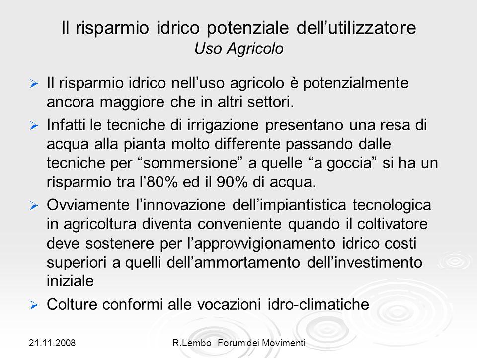 21.11.2008R.Lembo Forum dei Movimenti Il risparmio idrico potenziale dellutilizzatore Uso Agricolo Il risparmio idrico nelluso agricolo è potenzialmente ancora maggiore che in altri settori.