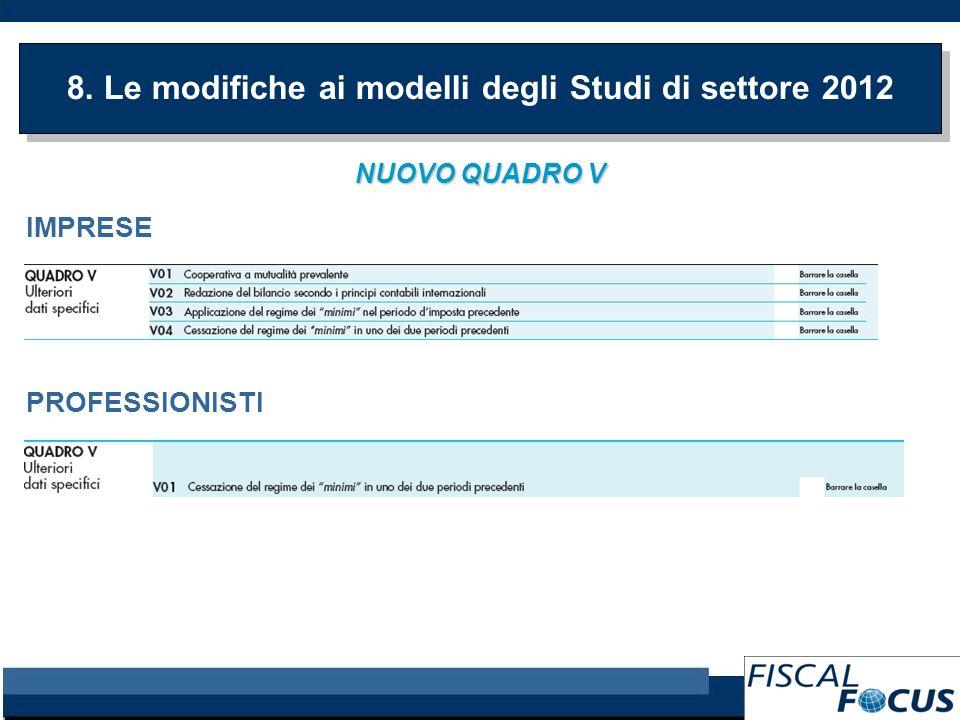 8. Le modifiche ai modelli degli Studi di settore 2012 NUOVO QUADRO V IMPRESE PROFESSIONISTI