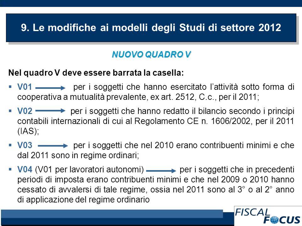 9. Le modifiche ai modelli degli Studi di settore 2012 NUOVO QUADRO V Nel quadro V deve essere barrata la casella: V01 per i soggetti che hanno eserci