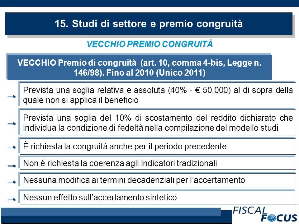 VECCHIO PREMIO CONGRUITÀ 15. Studi di settore e premio congruità VECCHIO Premio di congruità (art. 10, comma 4-bis, Legge n. 146/98). Fino al 2010 (Un
