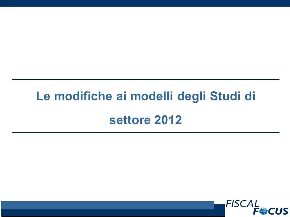 Le modifiche ai modelli degli Studi di settore 2012