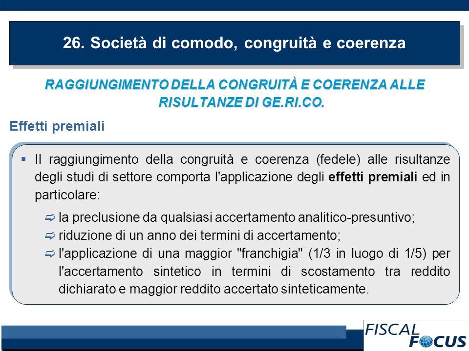 RAGGIUNGIMENTO DELLA CONGRUITÀ E COERENZA ALLE RISULTANZE DI GE.RI.CO.