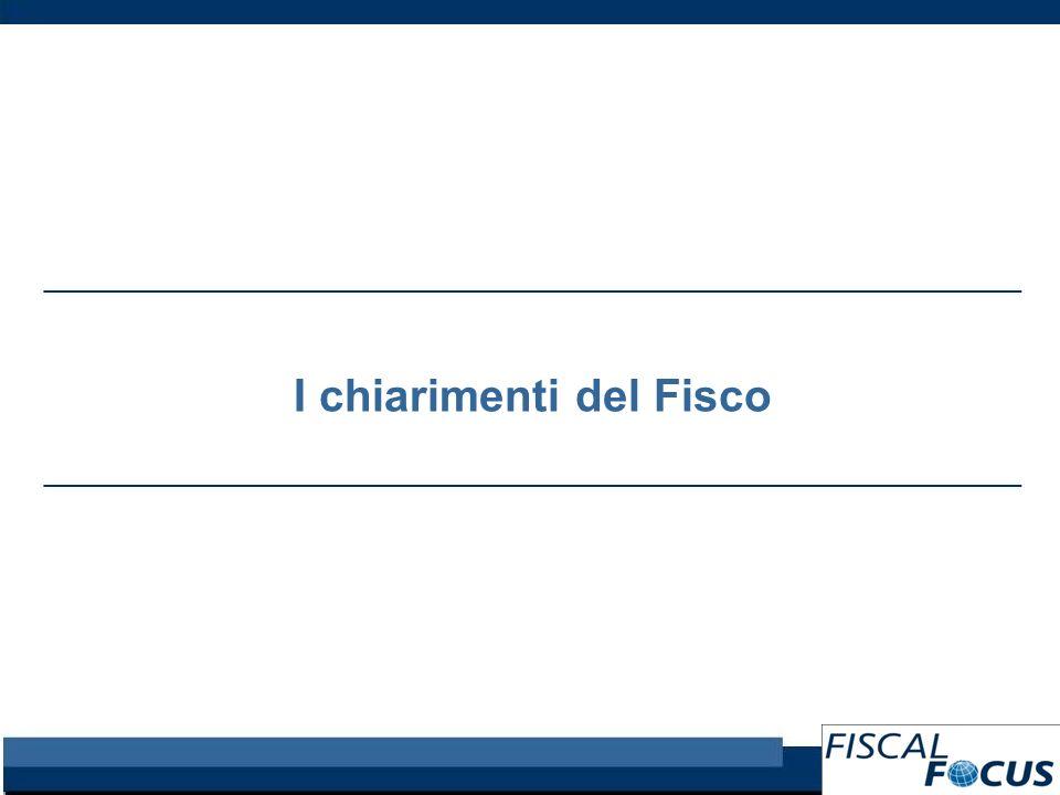 I chiarimenti del Fisco