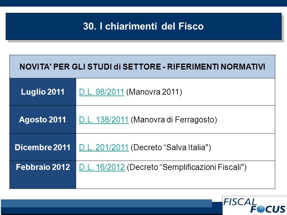 30. I chiarimenti del Fisco NOVITA' PER GLI STUDI di SETTORE - RIFERIMENTI NORMATIVI Luglio 2011D.L. 98/2011D.L. 98/2011 (Manovra 2011) Agosto 2011D.L