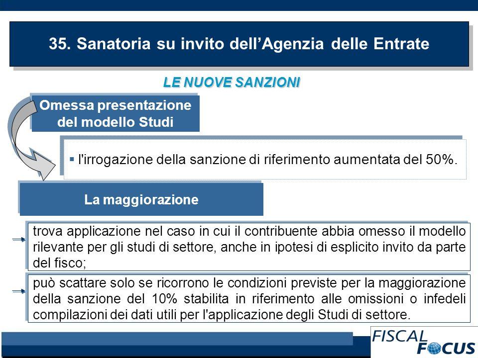 LE NUOVE SANZIONI 35. Sanatoria su invito dellAgenzia delle Entrate Omessa presentazione del modello Studi l'irrogazione della sanzione di riferimento