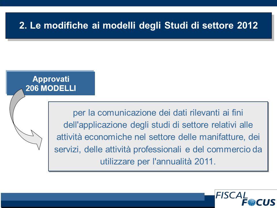 2. Le modifiche ai modelli degli Studi di settore 2012 Approvati 206 MODELLI Approvati 206 MODELLI per la comunicazione dei dati rilevanti ai fini del