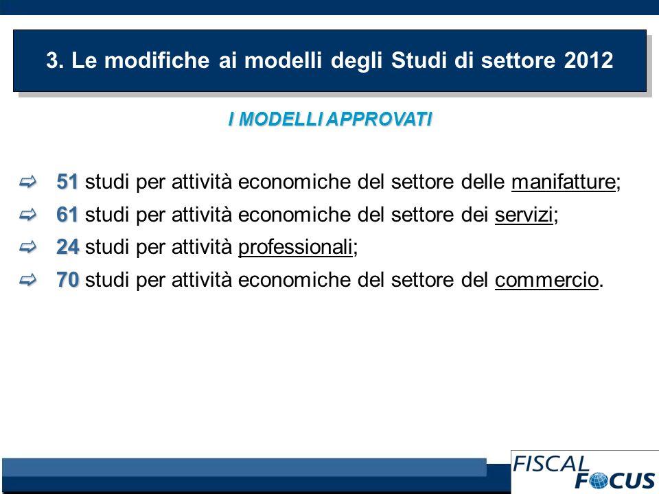 3. Le modifiche ai modelli degli Studi di settore 2012 I MODELLI APPROVATI 51 51 studi per attività economiche del settore delle manifatture; 61 61 st