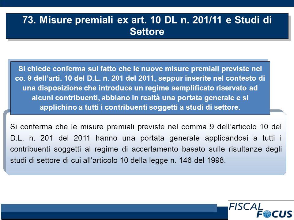 73. Misure premiali ex art. 10 DL n.