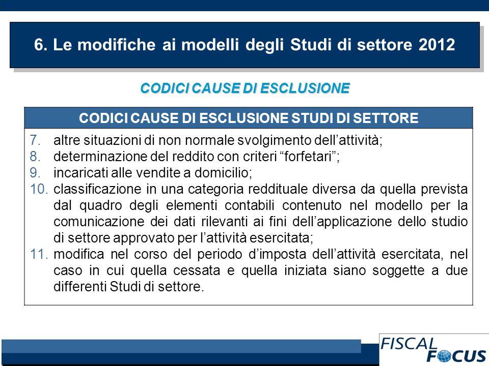 6. Le modifiche ai modelli degli Studi di settore 2012 CODICI CAUSE DI ESCLUSIONE CODICI CAUSE DI ESCLUSIONE STUDI DI SETTORE 7.altre situazioni di no