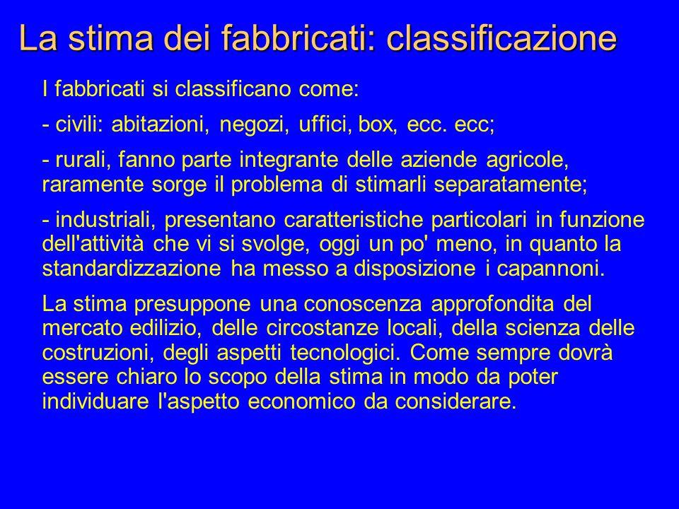 La stima dei fabbricati: classificazione I fabbricati si classificano come: - civili: abitazioni, negozi, uffici, box, ecc.