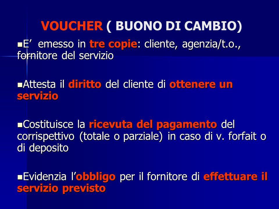 VOUCHER ( BUONO DI CAMBIO) E emesso in tre copie: cliente, agenzia/t.o., fornitore del servizio Attesta il diritto del cliente di ottenere un servizio
