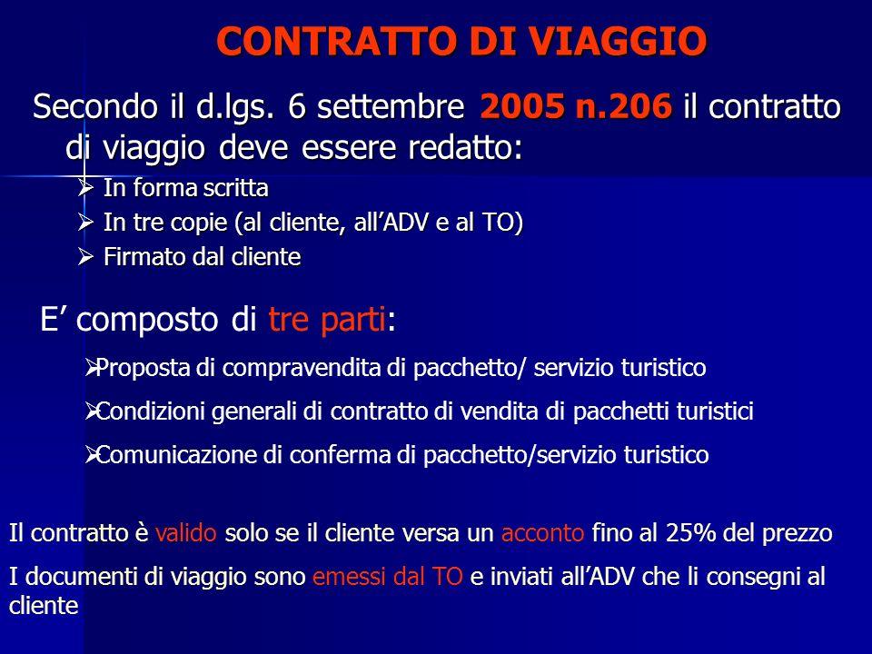 CONTRATTO DI VIAGGIO Secondo il d.lgs. 6 settembre 2005 n.206 il contratto di viaggio deve essere redatto: In forma scritta In forma scritta In tre co
