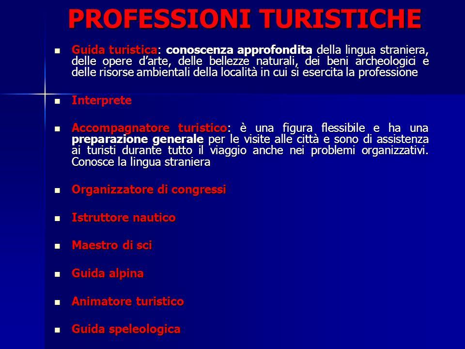PROFESSIONI TURISTICHE Guida turistica: conoscenza approfondita della lingua straniera, delle opere darte, delle bellezze naturali, dei beni archeolog