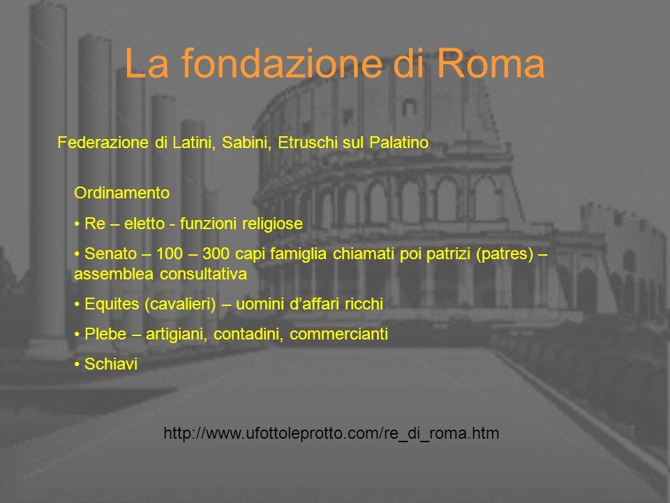 La fondazione di Roma Federazione di Latini, Sabini, Etruschi sul Palatino Ordinamento Re – eletto - funzioni religiose Senato – 100 – 300 capi famigl