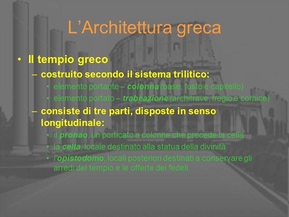 LArchitettura greca Il tempio greco –costruito secondo il sistema trilitico: elemento portante – colonna (base, fusto e capitello) elemento portato –