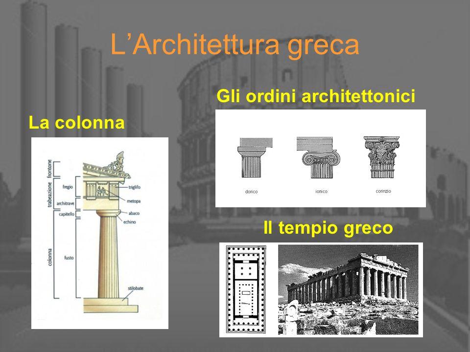 LArchitettura greca Gli ordini architettonici La colonna Il tempio greco