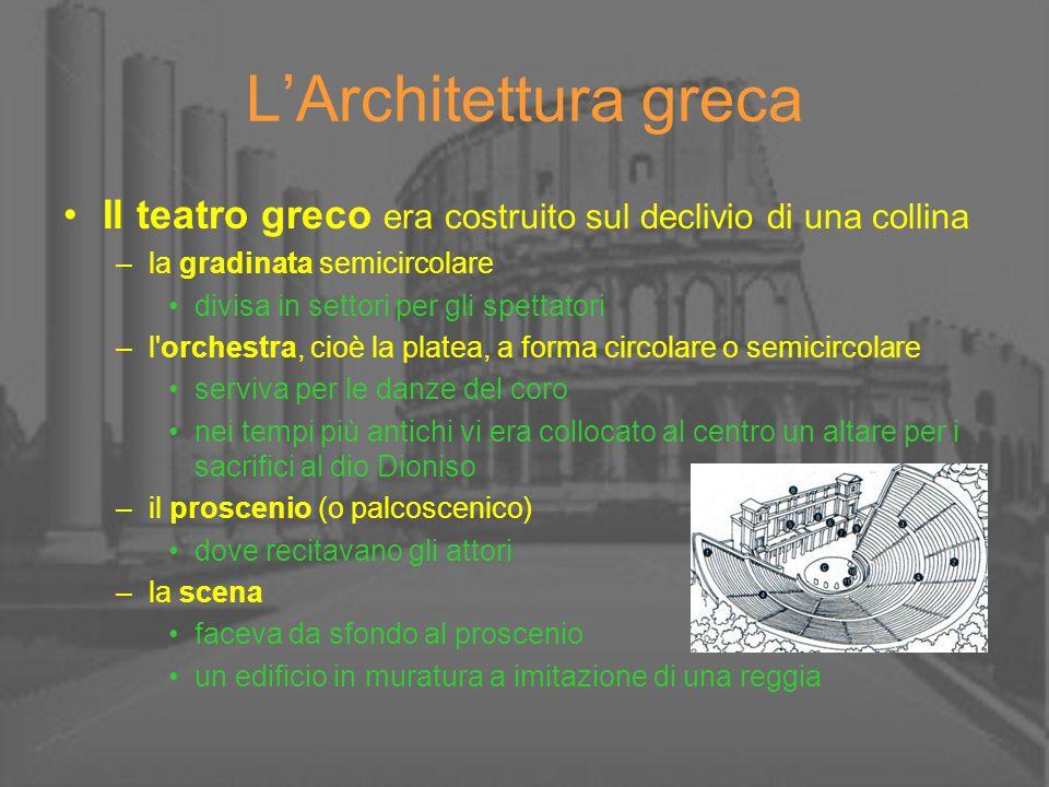 LArchitettura greca Il teatro greco era costruito sul declivio di una collina –la gradinata semicircolare divisa in settori per gli spettatori –l'orch