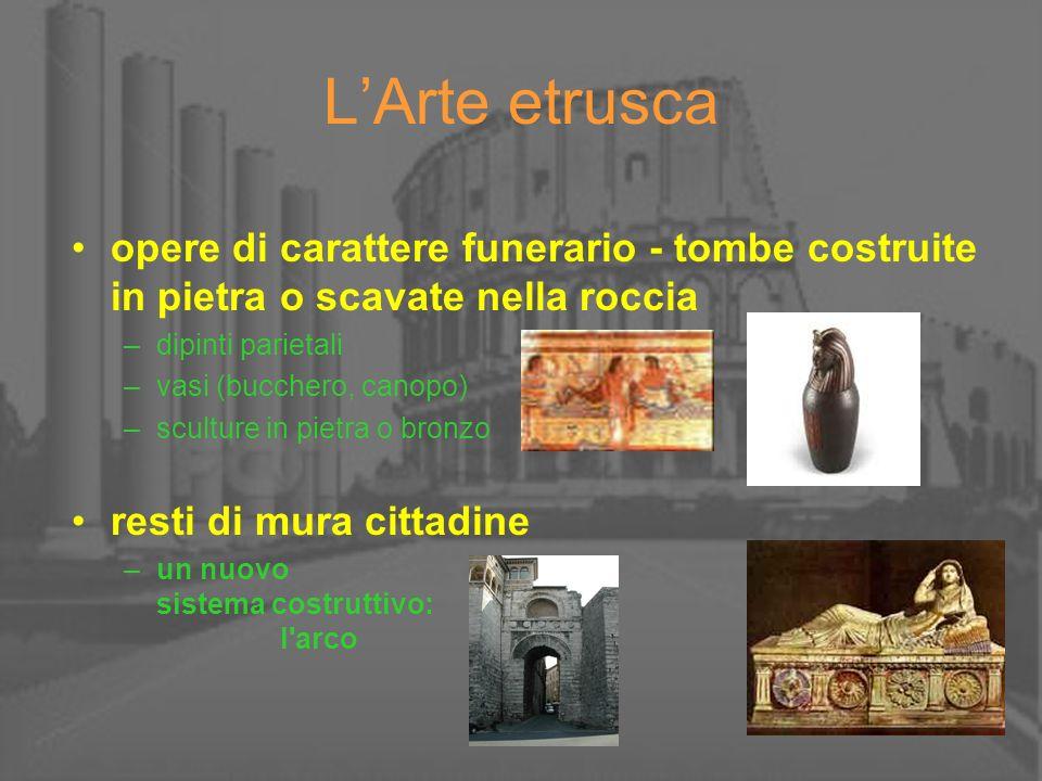 LArte etrusca opere di carattere funerario - tombe costruite in pietra o scavate nella roccia –dipinti parietali –vasi (bucchero, canopo) –sculture in