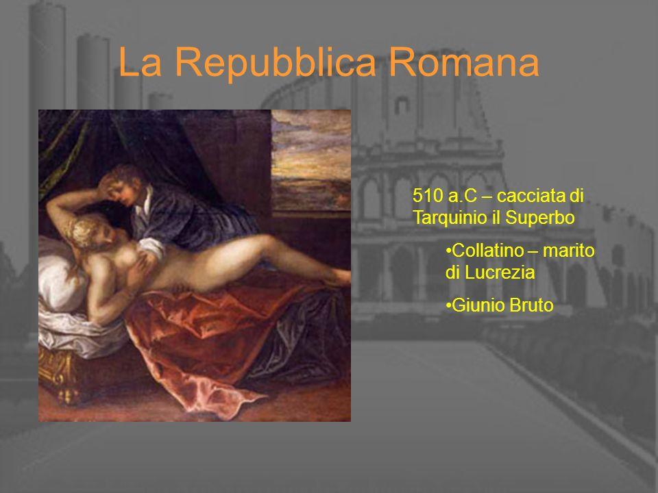 La Repubblica Romana 510 a.C – cacciata di Tarquinio il Superbo Collatino – marito di Lucrezia Giunio Bruto