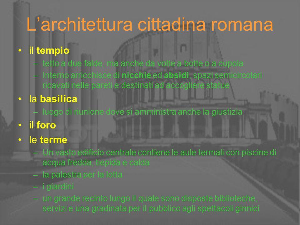 Larchitettura cittadina romana il tempio –tetto a due falde, ma anche da volte a botte o a cupola –Interno arricchisce di nicchie ed absidi, spazi sem