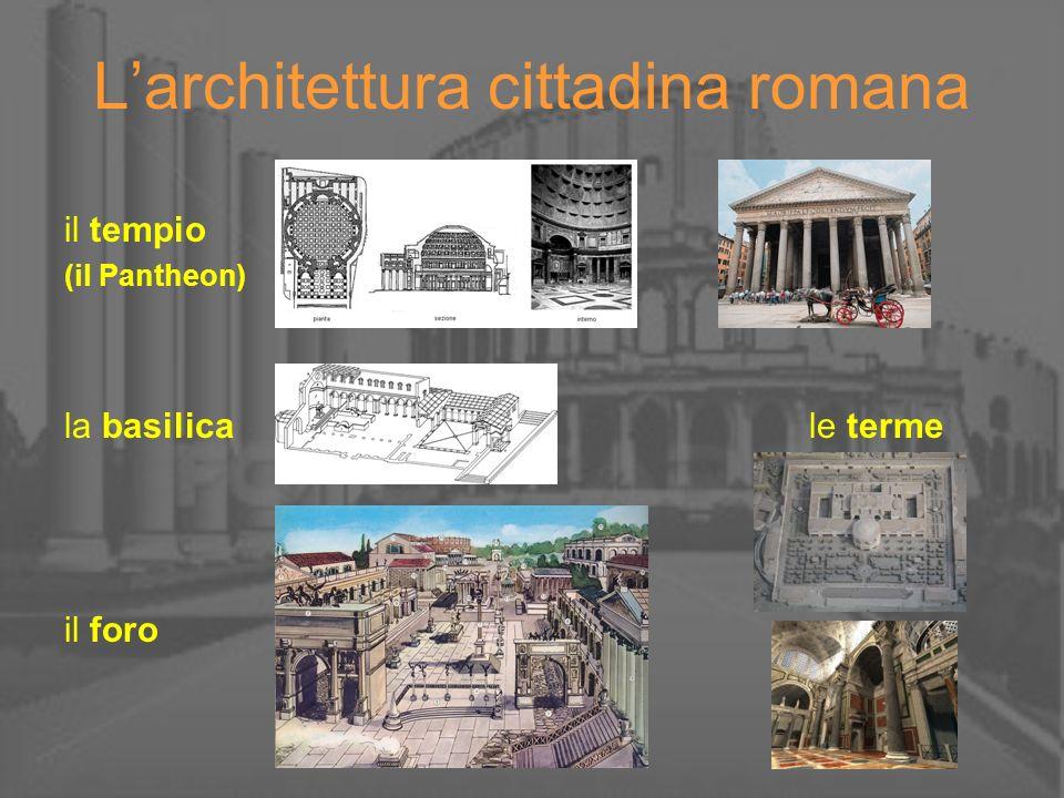 Larchitettura cittadina romana il tempio (il Pantheon) la basilica le terme il foro