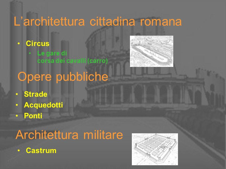 Opere pubbliche Strade Acquedotti Ponti Larchitettura cittadina romana Circus Le gare di corsa dei cavalli (carro) Architettura militare Castrum