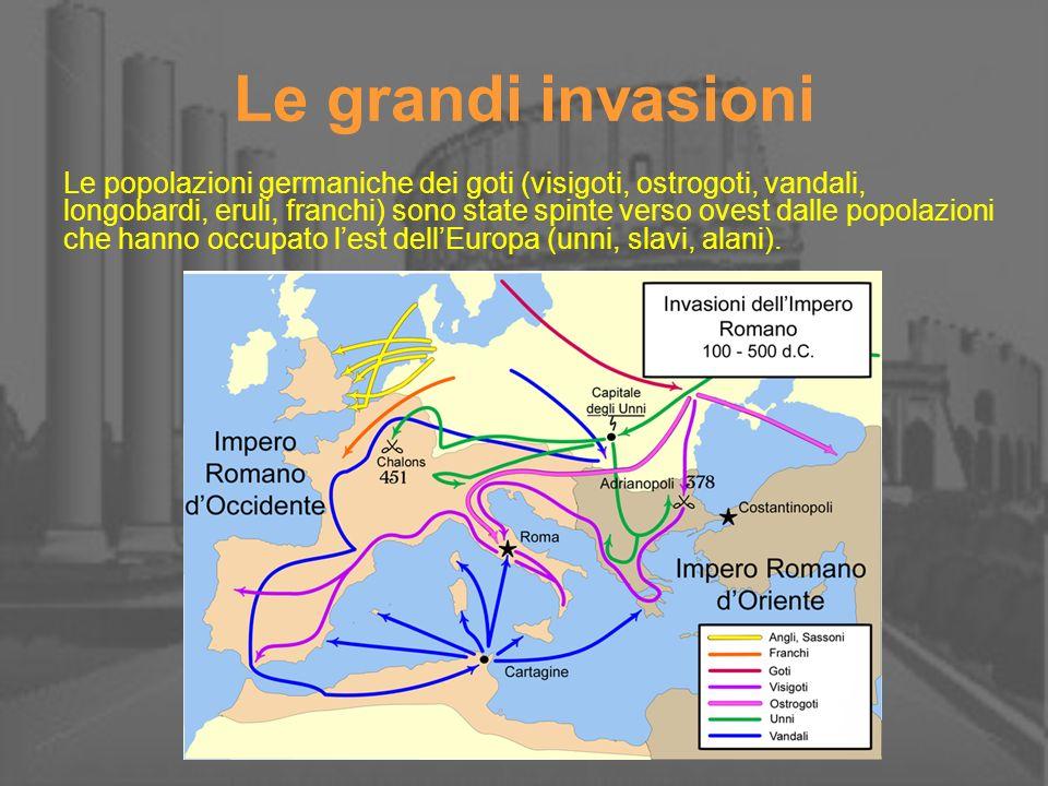 Le grandi invasioni Le popolazioni germaniche dei goti (visigoti, ostrogoti, vandali, longobardi, eruli, franchi) sono state spinte verso ovest dalle