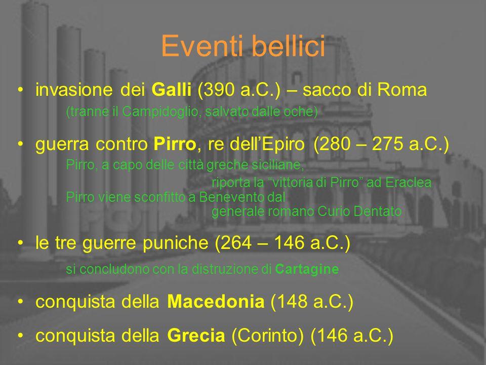 Eventi bellici invasione dei Galli (390 a.C.) – sacco di Roma (tranne il Campidoglio, salvato dalle oche) guerra contro Pirro, re dellEpiro (280 – 275