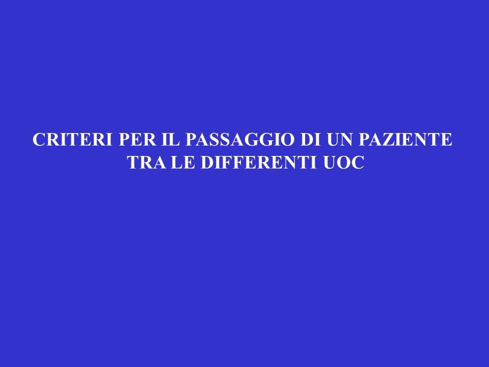 CRITERI PER IL PASSAGGIO DI UN PAZIENTE TRA LE DIFFERENTI UOC