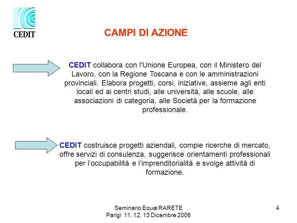 Seminario Equal RARETE Parigi 11, 12, 13 Dicembre 2006 4 CEDIT collabora con l Unione Europea, con il Ministero del Lavoro, con la Regione Toscana e con le amministrazioni provinciali.
