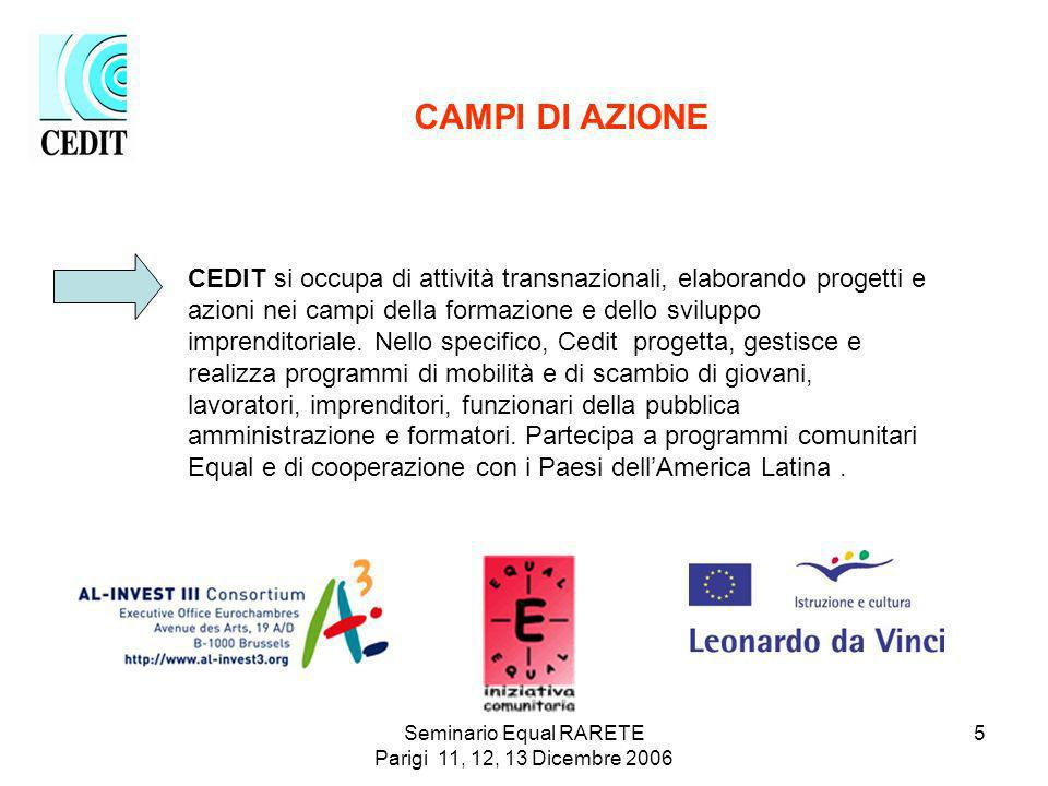 Seminario Equal RARETE Parigi 11, 12, 13 Dicembre 2006 5 CAMPI DI AZIONE CEDIT si occupa di attività transnazionali, elaborando progetti e azioni nei campi della formazione e dello sviluppo imprenditoriale.