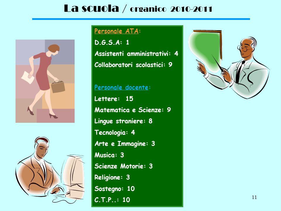 10 La scuola / struttura e dotazione La scuola è costituita da un unico plesso. Ledificio scolastico si articola su tre livelli. SEMINTERRATO 1 Palest