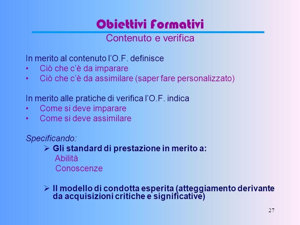 26 Obiettivi Formativi Caratteristiche Unitario, cioè che unifichi il fine formativo e gli scopi didattici Articolabile, cioè divisibile nelle sue par