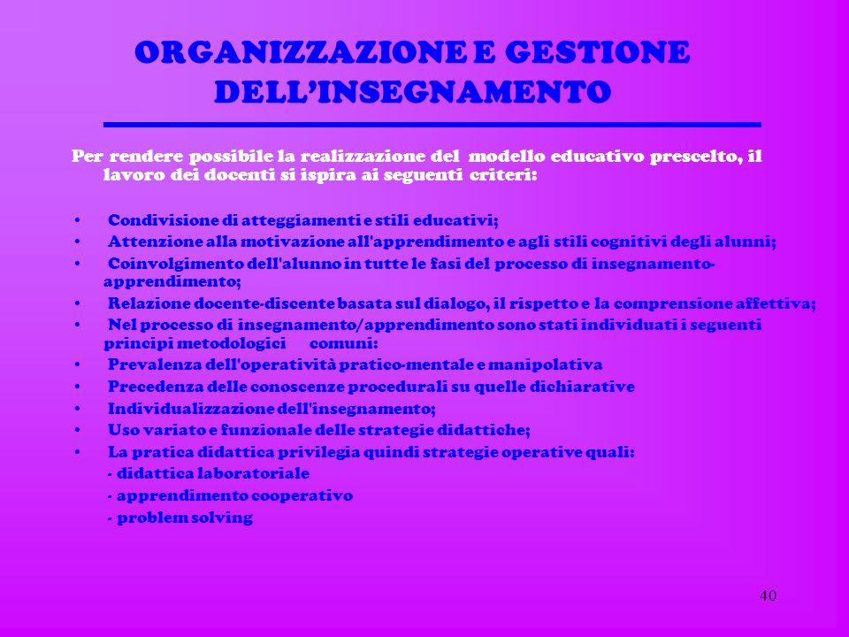 39 Organizzazione del curricolo Attività disciplinari in orario curricolare Per lacquisizione dei saperi di base attraverso lo studio delle singole di