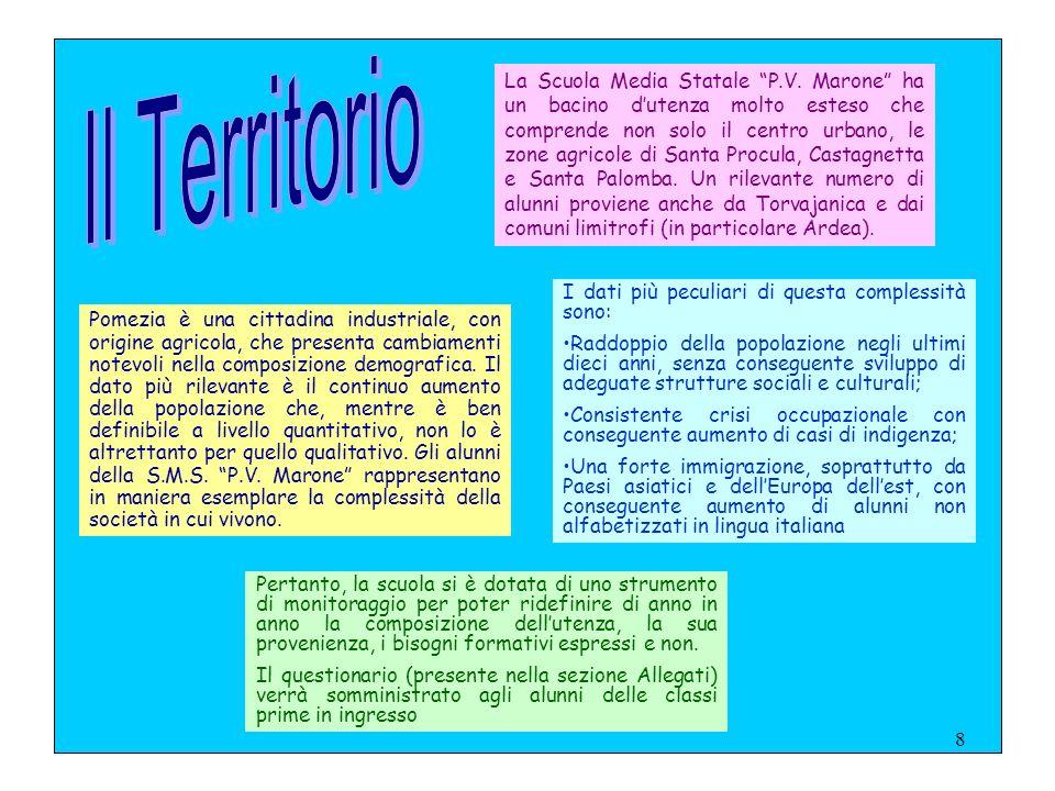 7 AMBITO RICOGNITIVO si definisce il contesto in cui la scuola opera in merito a: la sua storia specifica l'articolazione dell'unità scolastica le mod