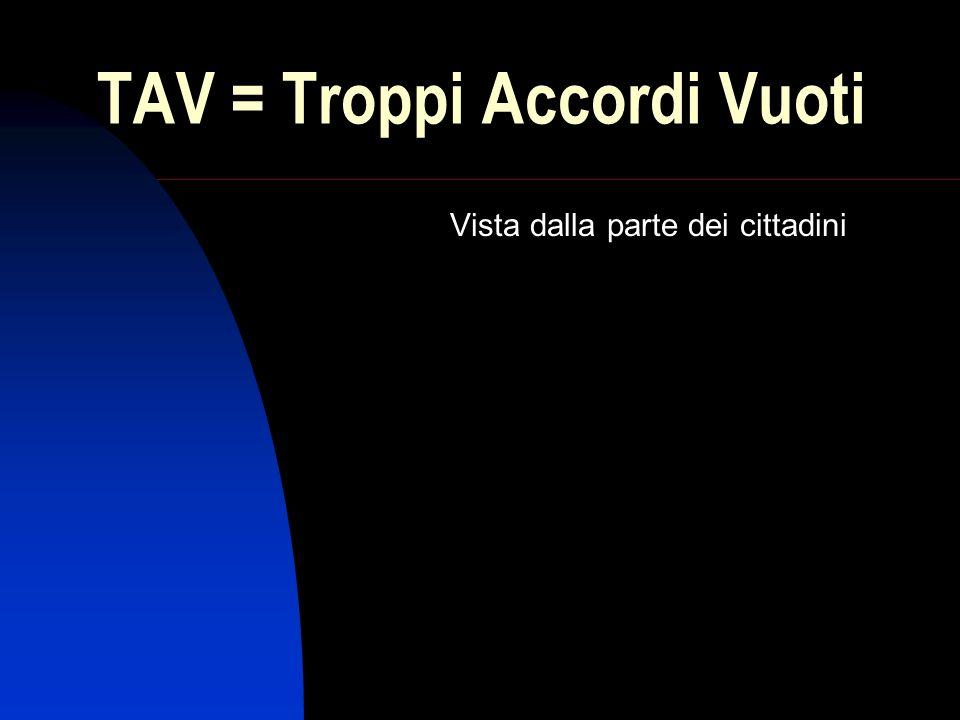 TAV = Troppi Accordi Vuoti Vista dalla parte dei cittadini