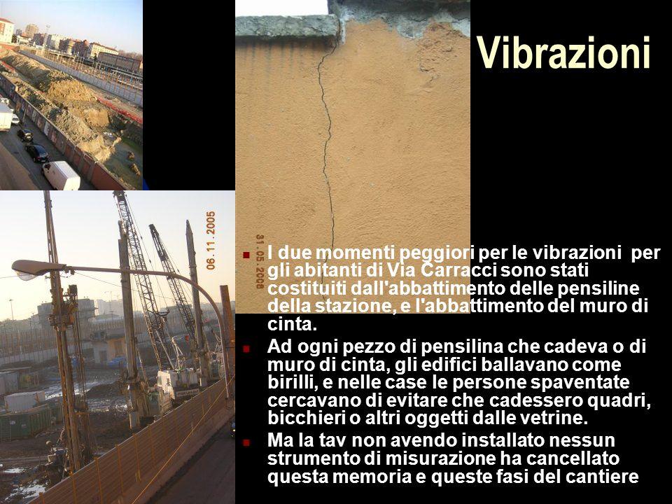 Vibrazioni I due momenti peggiori per le vibrazioni per gli abitanti di Via Carracci sono stati costituiti dall abbattimento delle pensiline della stazione, e l abbattimento del muro di cinta.
