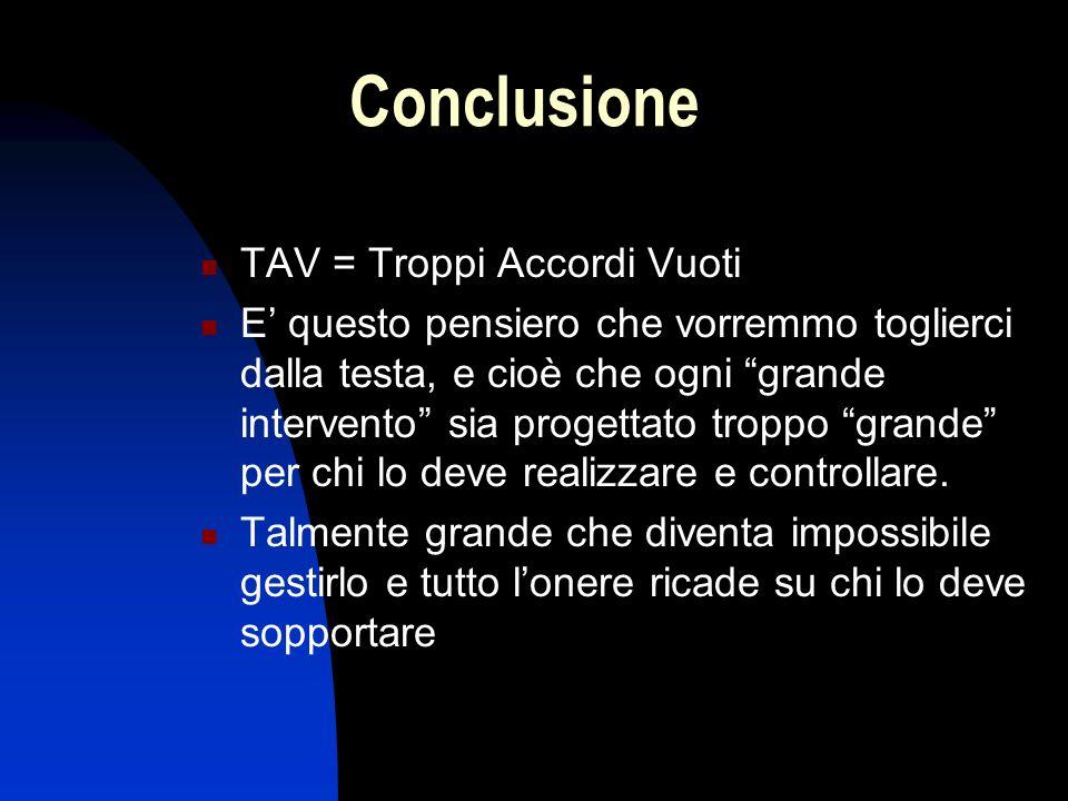 Conclusione TAV = Troppi Accordi Vuoti E questo pensiero che vorremmo toglierci dalla testa, e cioè che ogni grande intervento sia progettato troppo grande per chi lo deve realizzare e controllare.