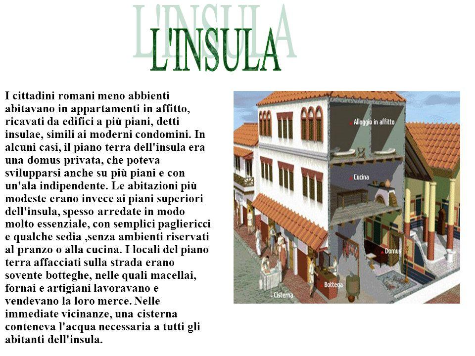 I cittadini romani meno abbienti abitavano in appartamenti in affitto, ricavati da edifici a più piani, detti insulae, simili ai moderni condomini. In
