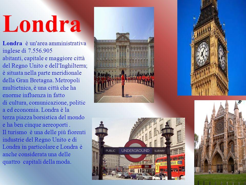 Londra Londra è un'area amministrativa inglese di 7.556.905 abitanti, capitale e maggiore città del Regno Unito e dell'Inghilterra; è situata nella pa