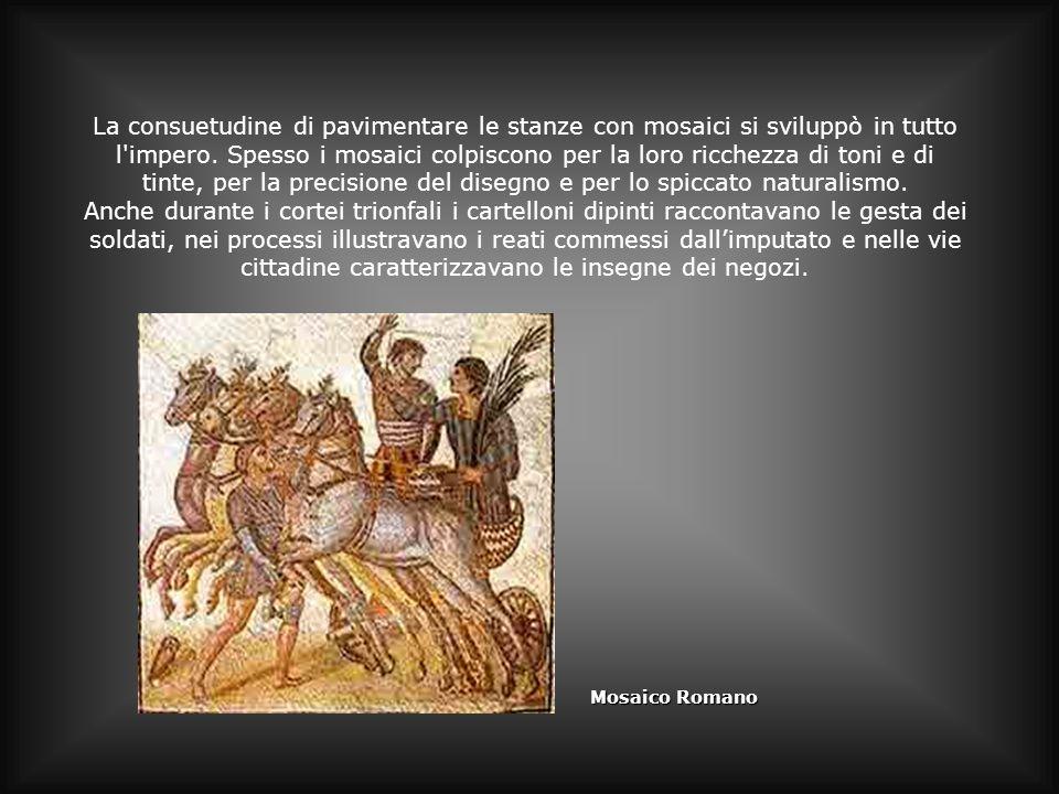 La consuetudine di pavimentare le stanze con mosaici si sviluppò in tutto l'impero. Spesso i mosaici colpiscono per la loro ricchezza di toni e di tin