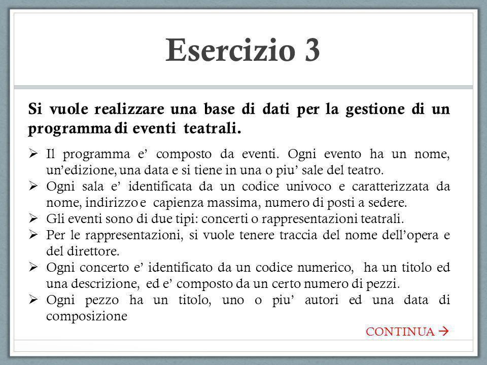 Esercizio 3 Si vuole realizzare una base di dati per la gestione di un programma di eventi teatrali.