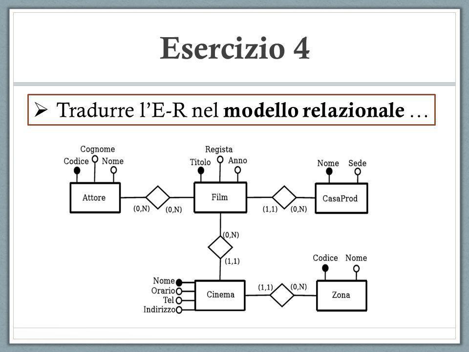 Esercizio 4 Tradurre lE-R nel modello relazionale …
