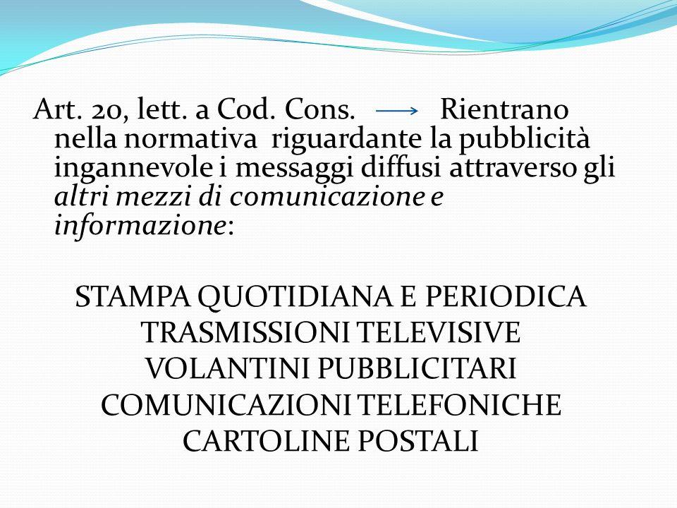 Art. 20, lett. a Cod. Cons. Rientrano nella normativa riguardante la pubblicità ingannevole i messaggi diffusi attraverso gli altri mezzi di comunicaz