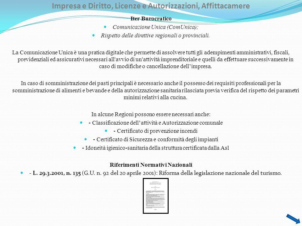 Impresa e Diritto, Licenze e Autorizzazioni, Affittacamere Iter Burocratico Comunicazione Unica (ComUnica); Rispetto delle direttive regionali o provinciali.