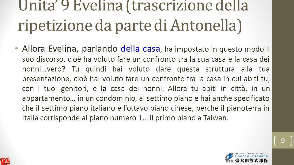 Unita 9 Evelina (trascrizione della ripetizione da parte di Antonella) Allora Evelina, parlando della casa, ha impostato in questo modo il suo discorso, cioè ha voluto fare un confronto tra la sua casa e la casa dei nonni…vero.