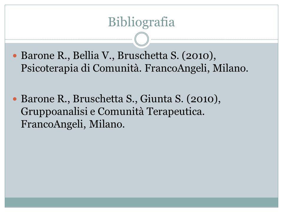 Bibliografia Barone R., Bellia V., Bruschetta S.(2010), Psicoterapia di Comunità.
